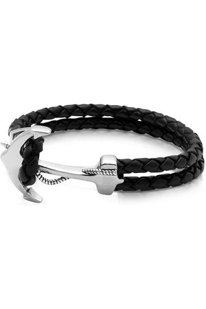 Nialaya Men's Black Leather Bracelet with Silver Anchor