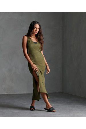 Superdry Kvinna Strandklänningar - Nevada ribbstickad strandklänning