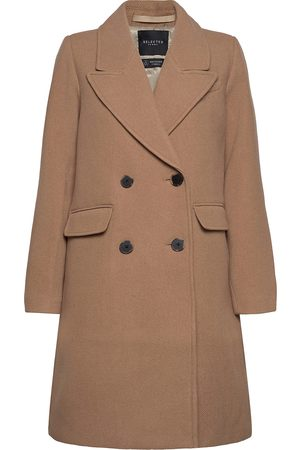 Selected Slfsassy Wool Coat B Yllerock Rock Brun