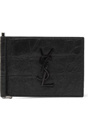 Saint Laurent Man Plånböcker - Logo-Appliquéd Croc-Effect Leather Bifold Cardholder with Money Clip