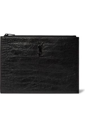 SAINT LAURENT Logo-Appliquéd Croc-Effect Leather Pouch