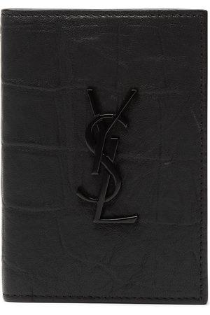 Saint Laurent Man Plånböcker - Logo-Appliquéd Croc-Effect Leather Billfold Wallet