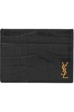 Saint Laurent Man Plånböcker - Logo-Appliquéd Croc-Effect Leather Cardholder