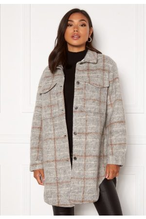 Object Kvinna Skjortor - Sola Long Shirt Light Grey Mel Check 40