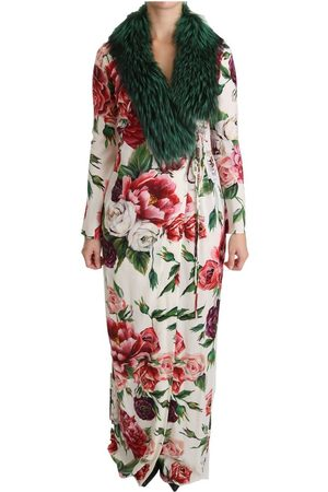 Dolce & Gabbana Floral Shift Fur Coat Silk Dress