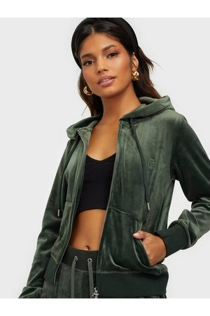 Juicy Couture Robertson Classic Velour Zip Trough Hoodie Hoodies Dark Moss