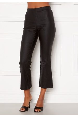Vila Commit Coated HWSL Cropped Pants Black L