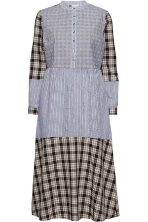 Coster Copenhagen Long Dress W. Mixed Shirting Colors Knälång Klänning Svart