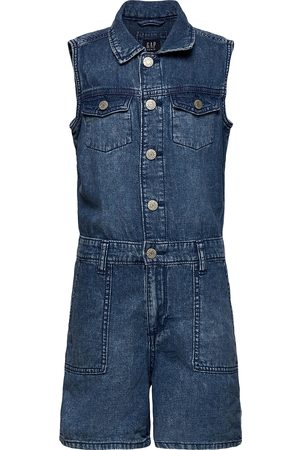 GAP Kids Denim Sleeveless Romper Jumpsuit Blå