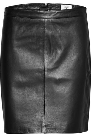 Object Objchloe Leather Skirt Noos Knälång Kjol