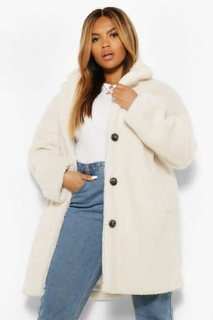 Boohoo Plus Teddy Faux Fur Coat, White