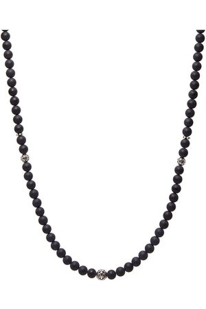 Nialaya Men's Beaded Necklace With Matte Onyx and Silver