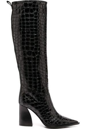 Premiata Crocodile effect knee-high boots