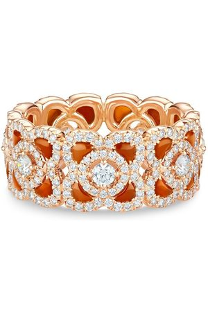 De Beers 18kt rose gold Enchanted Lotus carnelian and diamond ring