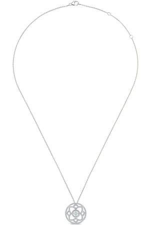 De Beers 18kt white gold Enchanted Lotus large medal diamond pendant necklace