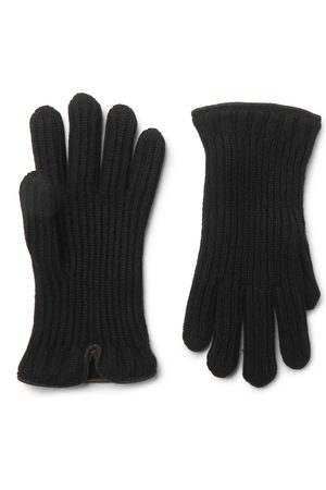 Loro Piana Leather-Trimmed Ribbed Cashmere Gloves