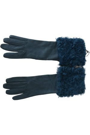 Dolce & Gabbana Mid Arm Leather Shearling Fur Gloves
