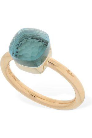 Pomellato Nudo 18kt Gold Thin Ring W/ Blue Topaz