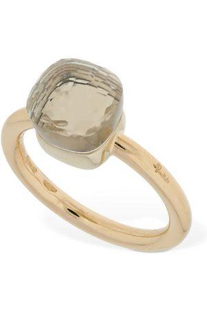 Pomellato Nudo 18kt Gold Thin Ring W/ White Topaz