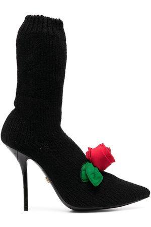 Dolce & Gabbana Stickade stövlar med rosdetalj