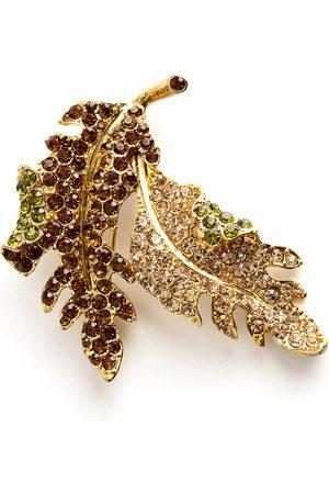 Kenneth Jay Lane Sparkling leaf brooch