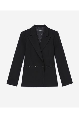 The Kooples Black jacket in wool w/croc-print leather