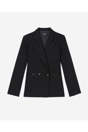 The Kooples Kvinna Skinnjackor - Black jacket in wool w/croc-print leather