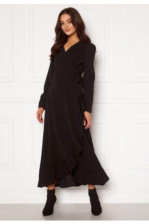 John Zack Kvinna Maxiklänningar - Long Sleeve Wrap Frill Maxi Dress Black XS (UK8)