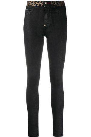 Philipp Plein Skinny-jeans med leopardmönstrad kant