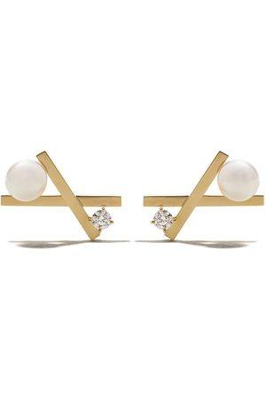 Tasaki Balance Akoya stiftörhängen i 18K gult med diamant och pärla