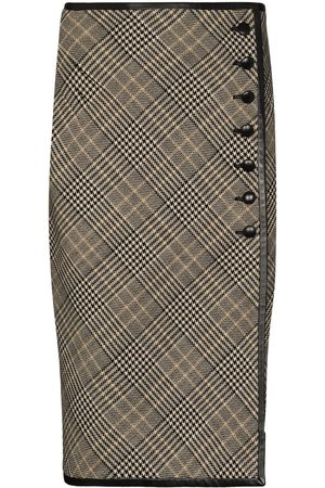 Saint Laurent Checked wool buttoned pencil skirt