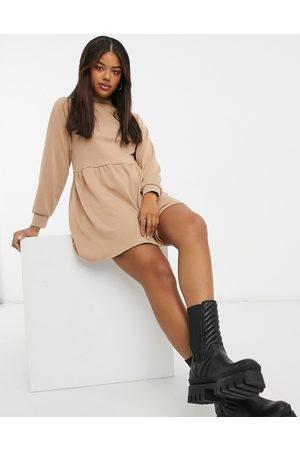 New Look – Kamelfärgad skjortklänning med hög krage i minimodell
