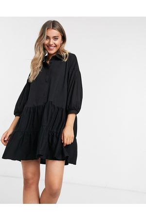ASOS – skjortklänning i minidesign med rynkade våder