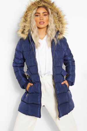 Boohoo Faux Fur Trim Hooded Belted Puffer Coat, Blue
