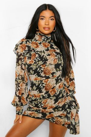 Boohoo Petite Floral High Neck Mini Dress, Black