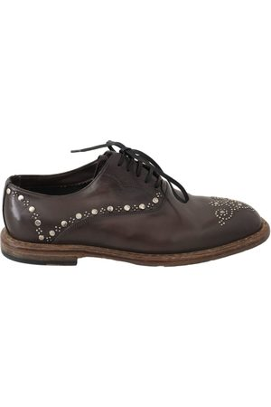 Dolce & Gabbana Leather Marsala Derby Studded Shoes