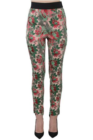 Dolce & Gabbana Stirrup Jacquard Floral Stretch Trousers Pants