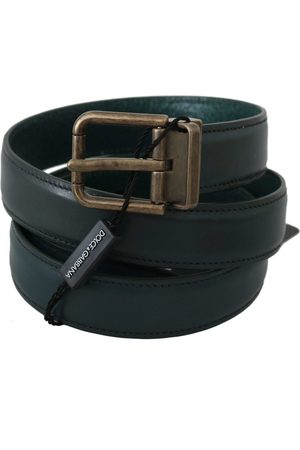 Dolce & Gabbana Calfskin Leather Gold Buckle Belt