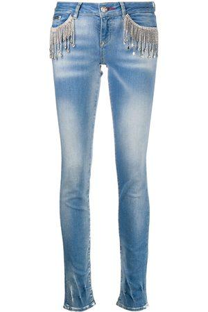 Philipp Plein Smala jeans med strassfransar