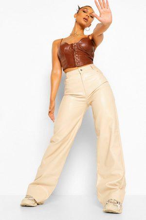 Boohoo Leather Look Pu Wide Leg Pants