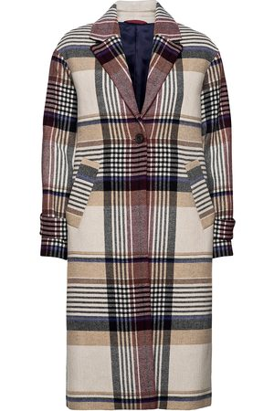 GANT Kvinna Vinterkappor - D1. Checked Wool Blend Overcoat Yllerock Rock Beige