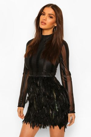 Boohoo High Neck Feather Skirt Mini Dress, Black