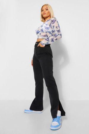 Boohoo Petite Black Split Hem Jeans, Black