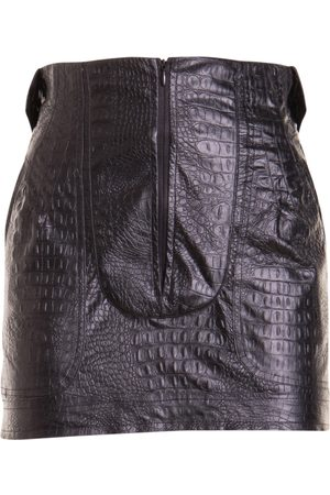 AMEN Croco print eco-leather mini skirt