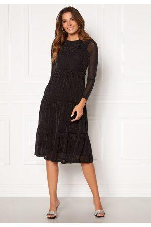 Happy Holly Emilia Glitter flounce dress Black / Silver 40/42