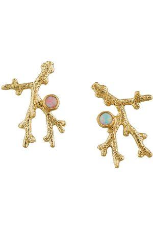 Alex Monroe 18kt yellow gold Coral Opal Branch stud earrings