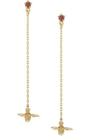 Alex Monroe 18kt yellow gold Fine Chain Bee sapphire drop earrings