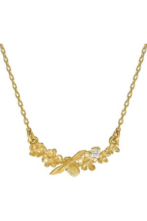 Alex Monroe 18kt yellow gold Floral Curve diamond necklace