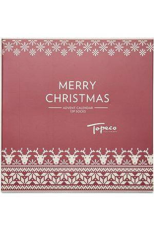 TOPECO Man Strumpor - Xmas Calendar 12p Sock Santa Underwear Socks Regular Socks Multi/mönstrad