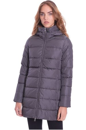 add Long Quilted Down Jacket With Detachable Hood